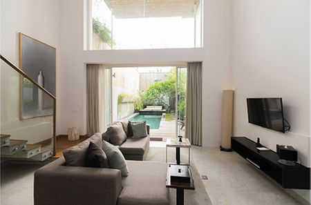 Living room view of Seminyak villas with private pool displayed