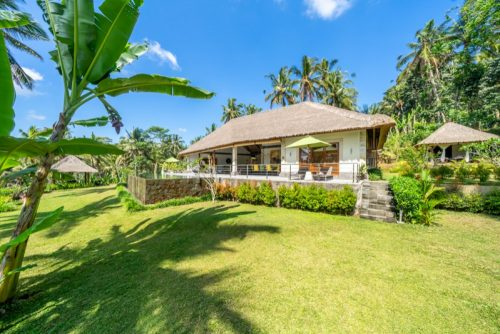relaxing Ubud villas with rice paddies view